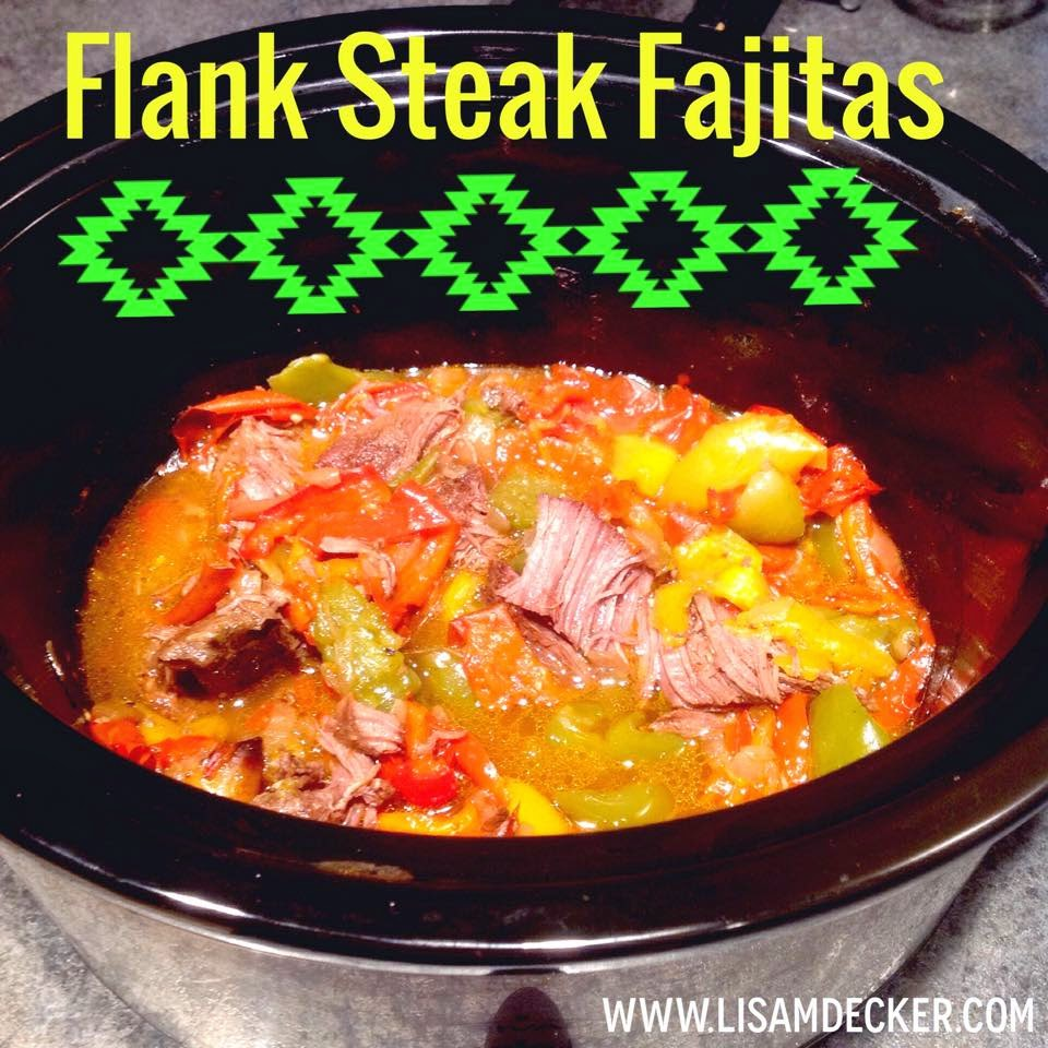 slow cooker flank steak fajitas